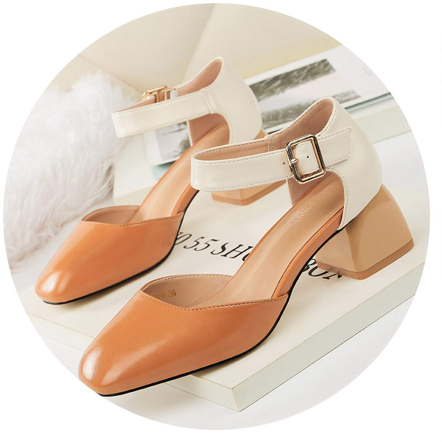 e7c109654f5 Get Quotations · Shiny-Fashion-Dream-mules-shoes Woman Block High Heels  Sandals Mules Buckle