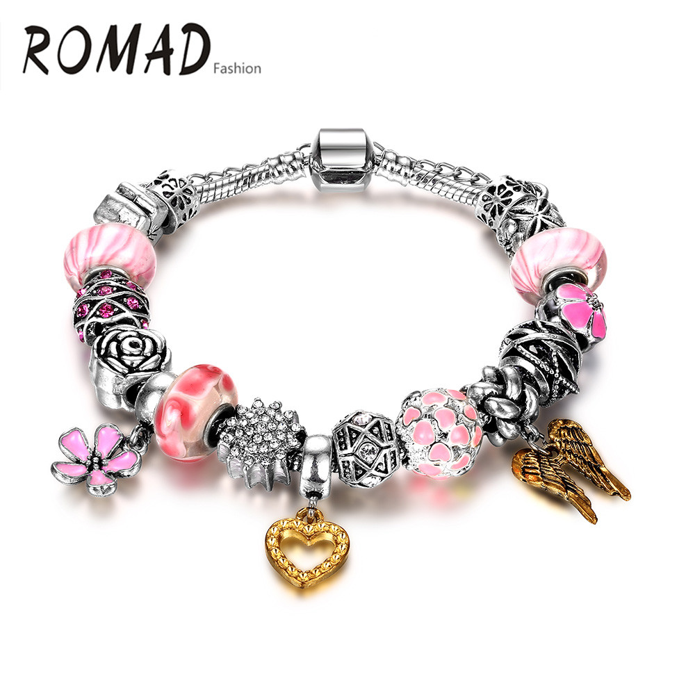 2016 hot sell Handmade ally heart shape with wing and colorful balls wholesale bracelet