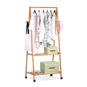 Multifunctional bamboo garment rack with 2-tier bamboo clothes rack portable