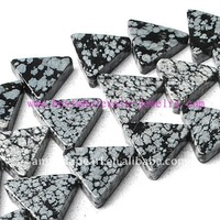 16*16mm loose raw natural triangle black snowflake obsidian stone beads