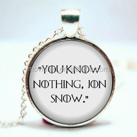 Game of Thrones Necklace 'You know nothing, Jon Snow' Book Necklace Game of Thrones Ygritte and Jon Nights Watch