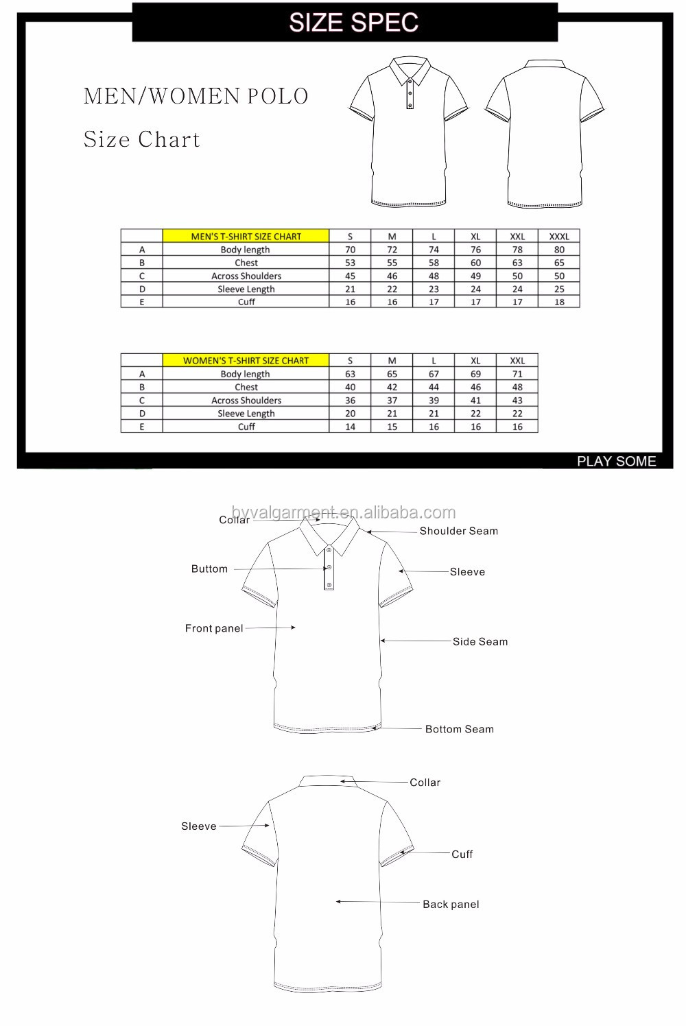 Polo Shirts Size Chart