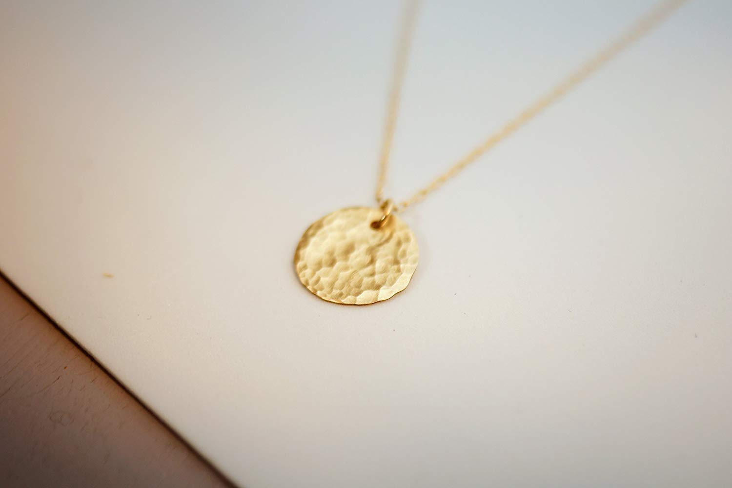 ce4262cb9bde6 Get Quotations · Gold Filled Layered Disc Necklace, Simple Delicate  Everyday Minimalist Jewelry, Artisan Handmade Design