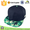 snapback hat with flowers brim, curve brim snapback cap and hat, custom metal plate snapback hat