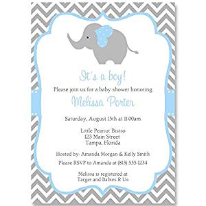 Elephant Baby Shower Invitations, Chevron, Stripes, Boys, Blue, Aqua, Gray, It's a Boy, Little Peanut, Personalized, Set of 10 Printed Invites with Envelopes, Chevron Elephant