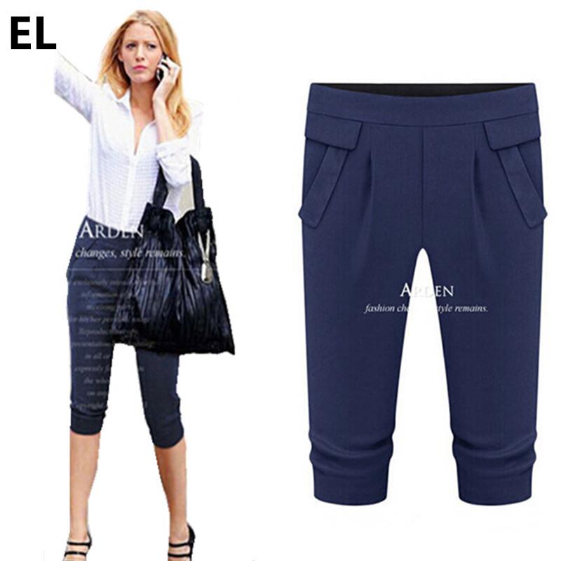 97db14541f9d0 Get Quotations · Plus Size Plus Size XL-5XL Women Pants   Capris Slim Fit  Stretchy Elastic Capris