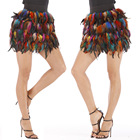 Rainbow Newly Concise Luxury Mini Skirt Shybuy Dance Skirt Women Faux Fur Feather Cosplay Rave Christmas Santa Halloween Skirt