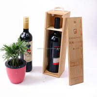 Cheap Handle Slide Lid Bamboo Unfinished Pine Wooden Single Wine box