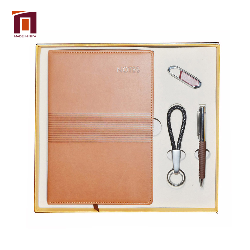 Custom Business Lederen Sleutelhanger Pen Notebook Gift Set