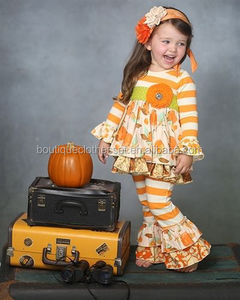 2015Wholesale Little Girls Halloween Clothes Sets Pumpkin Floral Halloween Sets Boutique Fall Outfits