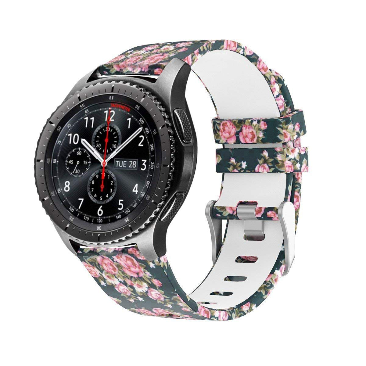 Galaxy Watch 46mm / Gear S3 Bands,LitoDream Soft Silicone Strap Replacement S3 Frontier Band Flower Wristbands for Samsung Gear S3 Classic Frontier Smartwatch (Blue Rose)