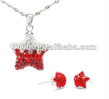 Crystal stars jewelry sets with 925 sterling silver fittings
