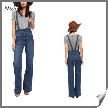 0142ec7a999 Latest Women New Model Adjustable Shoulder Straps Hook Design Wide Flared  Leg Retro Jeans Pants Overall
