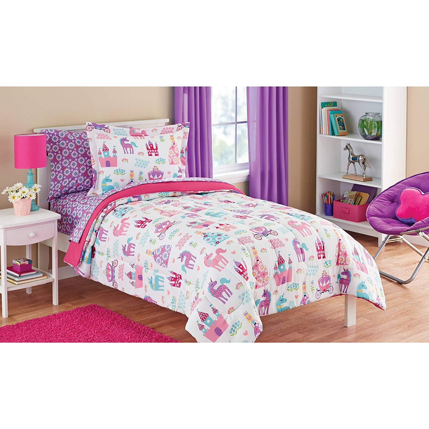 5 Piece Twin White Pink Purple Assorted Unicorn Dream Princess Castle Bedding Floral Chariot Carriages Magical Horses Clouds All Over Flowers Kids Girls Teen Believe Dancing Mythical Enchanted Pegasus