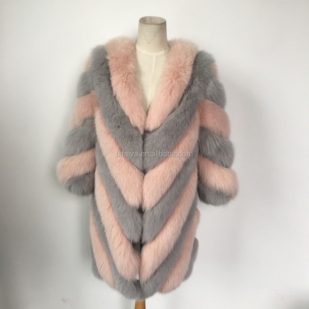 Wholesale Long Style Women Winter Whole Skin Real Fox Pink Fur Coats