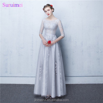 Dubai Prom Dresses Vestidos De Noite Longos Silver Appliques A Line Sheer See Through Long Prom Gown with Sleeves