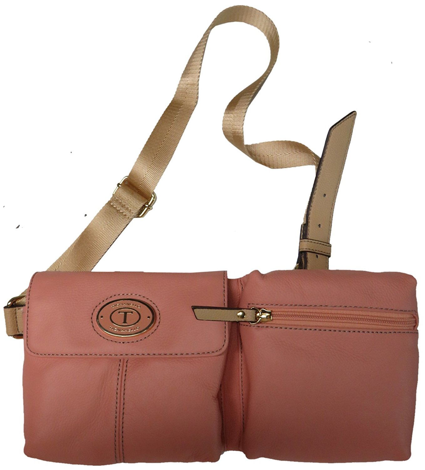 bc30bce60 Get Quotations · Tignanello Leather All Day Long Belt Bag Crossbody Peach