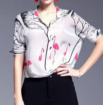7a5840e0030f EY1766B New Design Ladies Long Sleeve Fashion Swan Printed 100% Silk Casual  Blouse