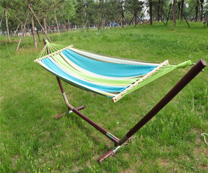 Durable Double Cotton Fabric Hammock Air Chair Hanging Swinging With Wood New