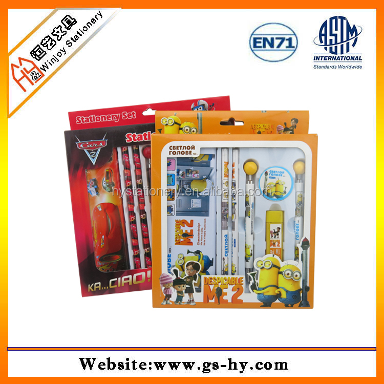 Promotional wholesale stationery set custom cartoon design, china cheap stationery manufacturer for children