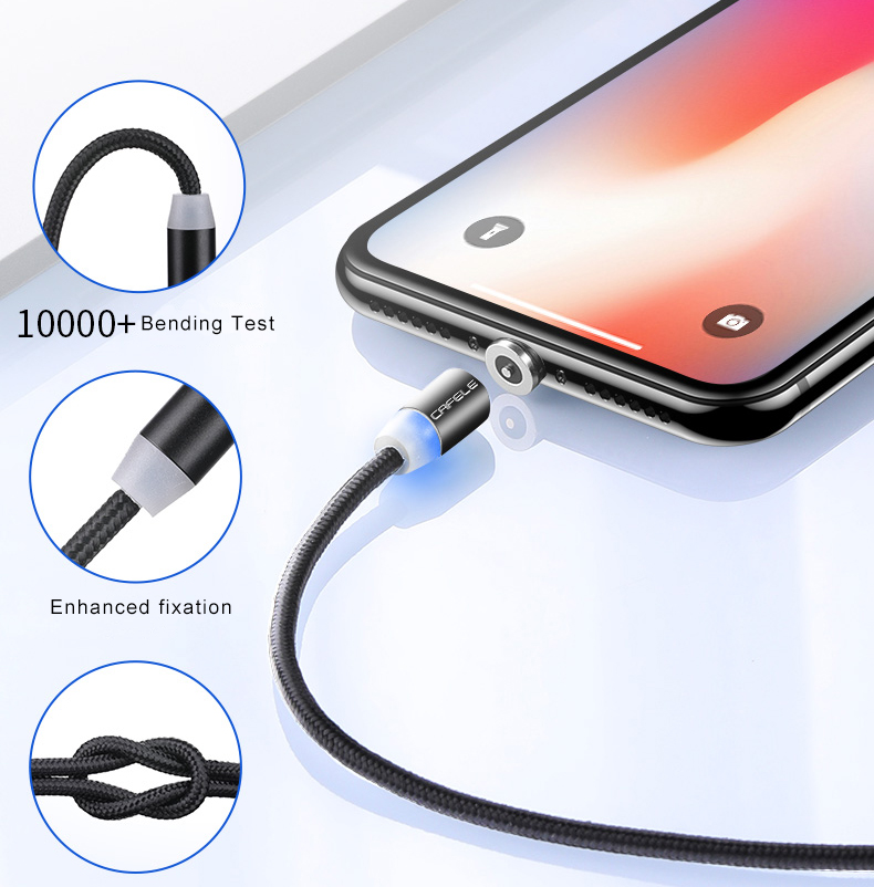 3 in 1 360 Degree Round 2.4A Fast Charging Nylon braided Magnetic USB Cable with micro usb type C apple 8pin