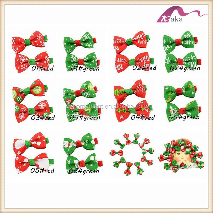 Christmas kids chirdren hair clip,cute girl christmas snow man printing hair clip accessory with ribbon bowknot