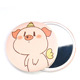 Tinplate mirror customized LOGO pink pig portable single side hand make-up mirror