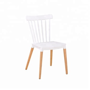 Restaurant Dining Furniture Plastic Chair Wood Leg Simple Modern Dining Room Chairs