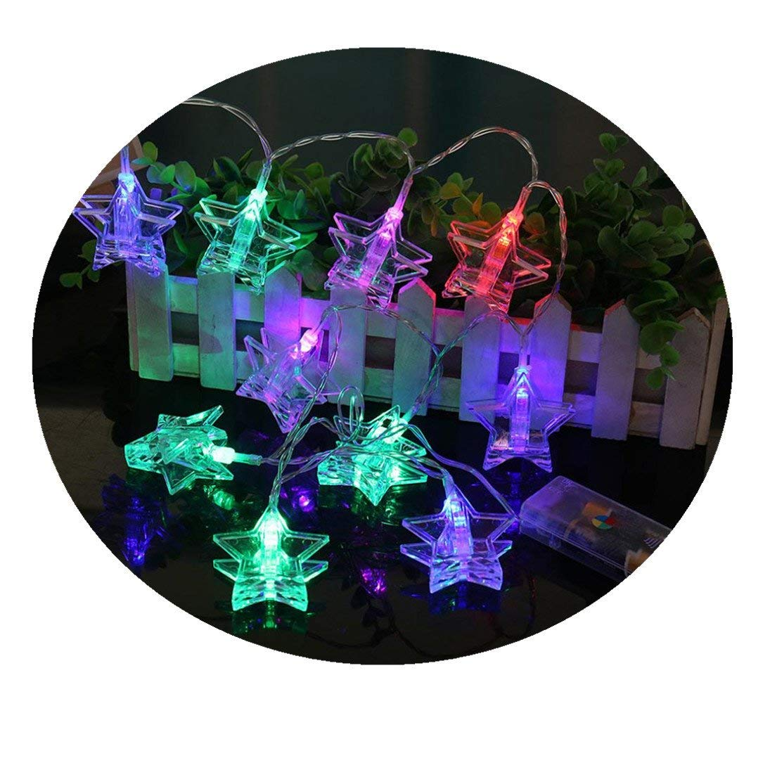 Fheaven (TM) 10 LED Beads Striking Star Curtain Lights String Photo Clip Lamp House Party Decor Christmas Lights for Outdoor Indoor (Multicolor)