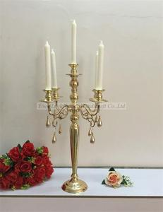 Luckygoods LDJ885 gold 5 arms unique wedding table candelabra centerpiece metal candlestick for wholesale
