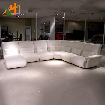 Modern Design White Leather L Shaped Corner Sofa Furniture Luxury 7 Seater Set For Living Room