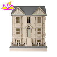 New design miniature wooden victorian dollhouse kit for children W06A262