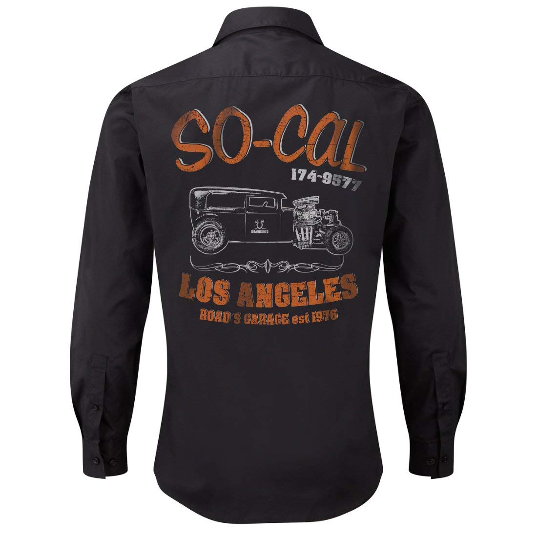 Rockabilly,Mechanic Work Shirt, Longsleeve, Rock'n'Roll, Hot Rod, V8, US Car, SoCal