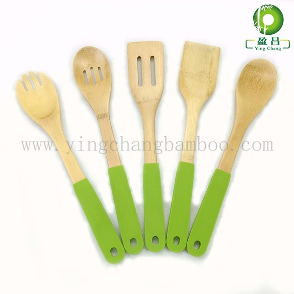 Bamboo colorful silicone kitchen utensils
