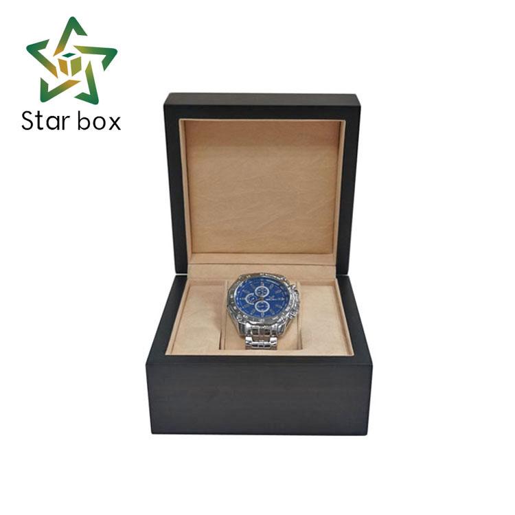 Wholesale custom matt lamination wooden watch gift box with velvet lining фото