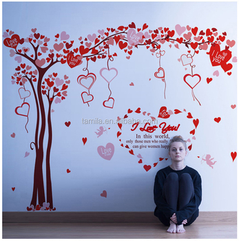 Valentines Day Removable Extra large Red Heart Tree Wall Sticker for Home Decoration
