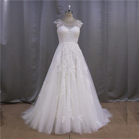 Design folds corset ruched skirt ball gown wedding dress long train