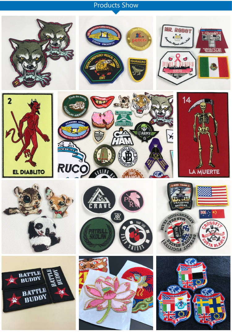 High Quality Chinese Cheap Brand Logo Custom Stick On Embroidered Patches