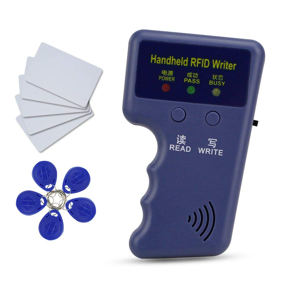 HFeng New 125Khz Handheld RFID Copier Card Reader Writer Duplicator Programmer + 10pcs EM4305/T5577 chip Key Card Token Tags
