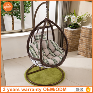 High quality PE wicker hanging garden hammock egg rattan swing chair singapore