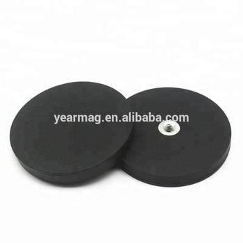 Dia 66mm Multi-Poles Rubber Coated Neodymium Pot Magnet for Magnetic Sign Gripper with Female Thread