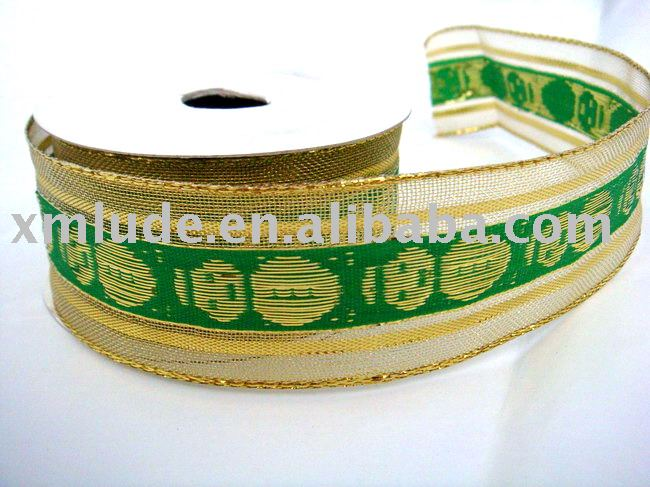 2011 green decoration christmas mesh ribbon