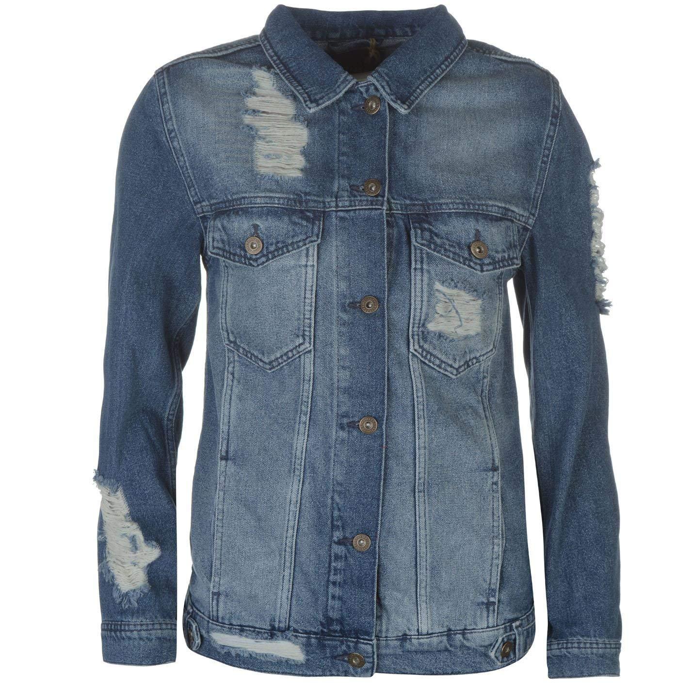 c7b5d6fdc11cb Get Quotations · Firetrap Womens Blackseal Distressed Denim Jacket Coat Top  Long Sleeve Cotton
