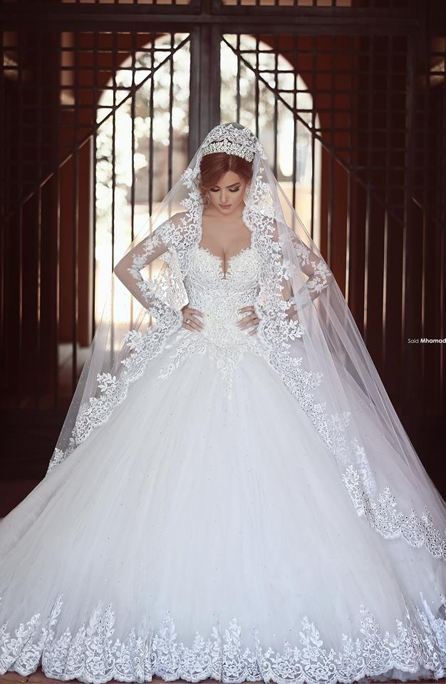 Long Sleeves Lace Ball Gown Wedding