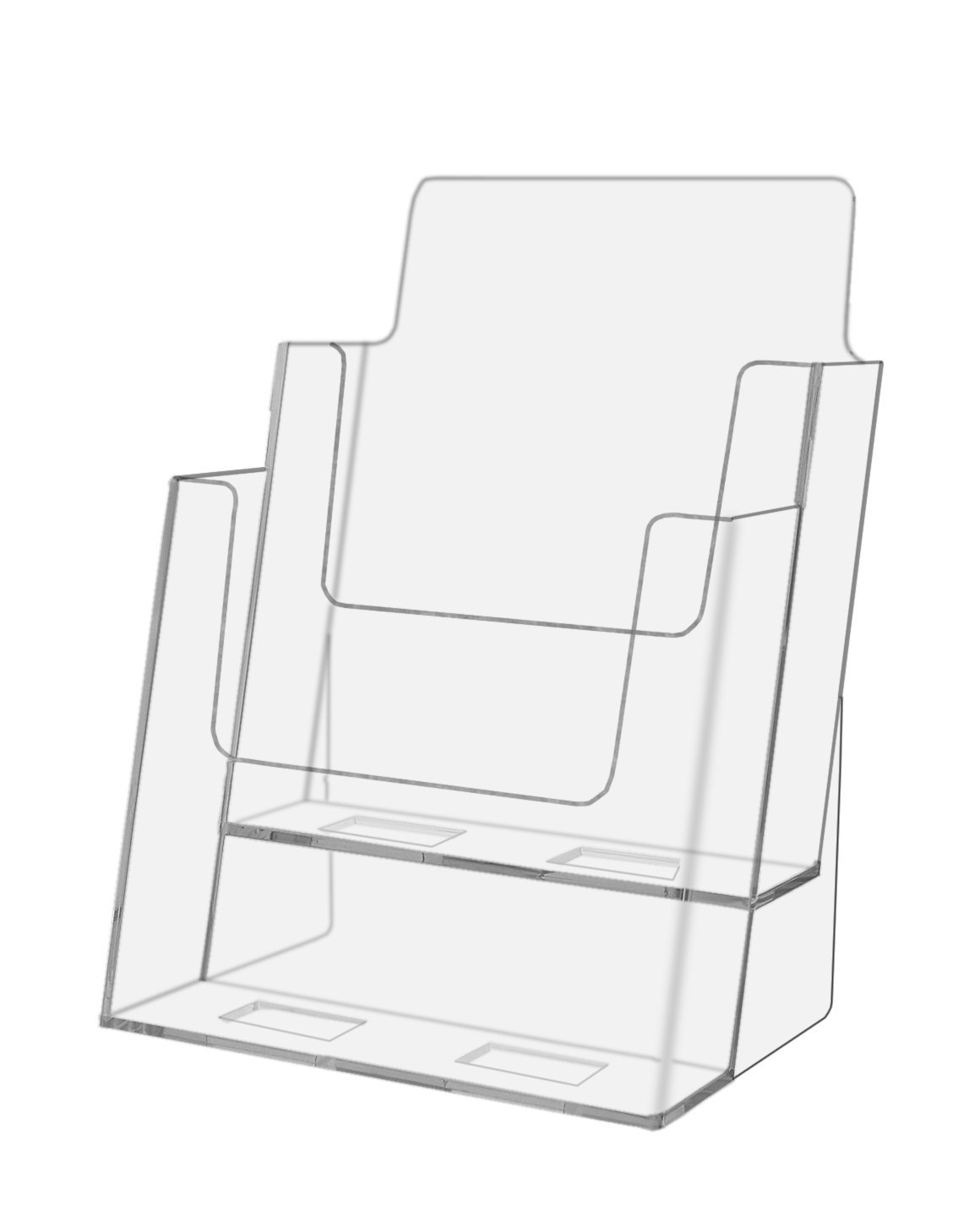 Marketing Holders Clear Acrylic 2 Pocket, Tiered Desktop Brochure Holder for 6 Inch Wide Literature, Product Catalogs and Bi-fold Brochures (Pack of 48)