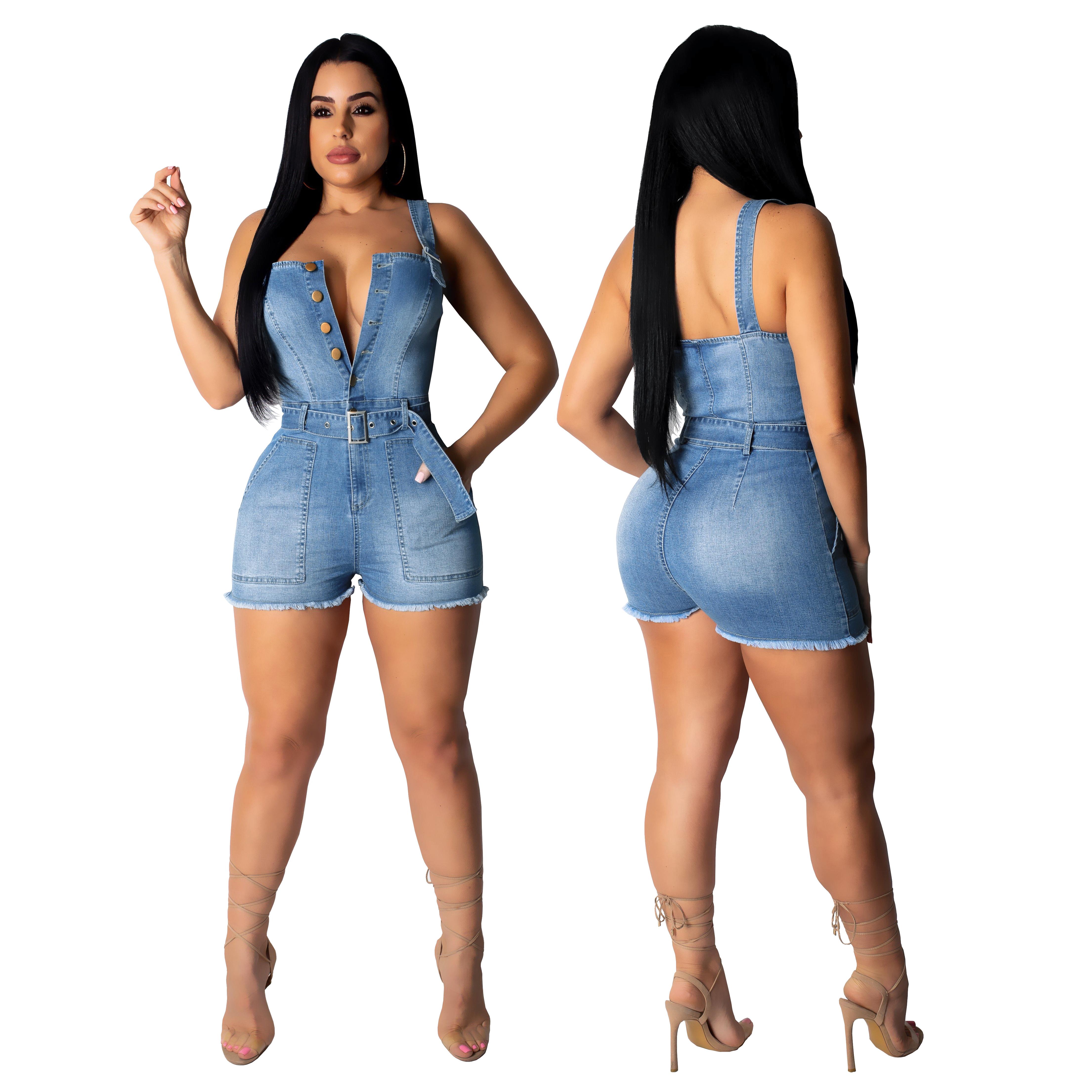 best online cheap new high quality sexy jeans romper women denim shorts jumpsuit 2019, Blue - alibaba ...