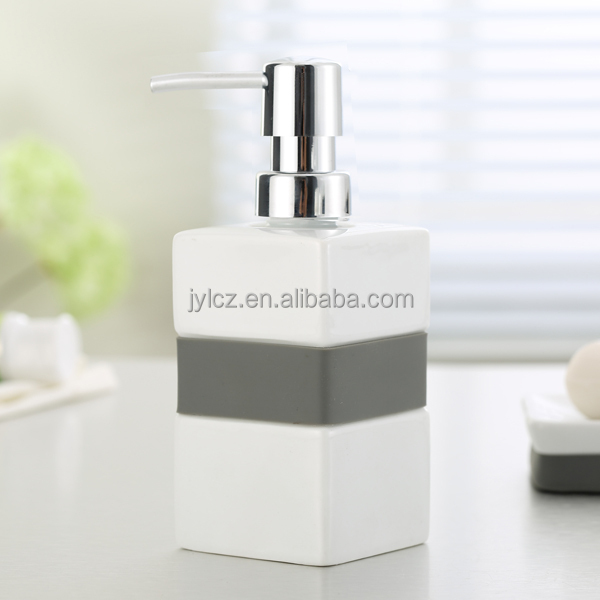 ceramic soap dispenser with plastic pump and silicone band
