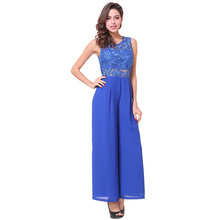 In voorraad Lage MOQ! Lange Broek Goedkope <span class=keywords><strong>Jumpsuit</strong></span> Backless Sexy Blue Chiffon Kant <span class=keywords><strong>Jumpsuit</strong></span> <span class=keywords><strong>Vrouwen</strong></span>