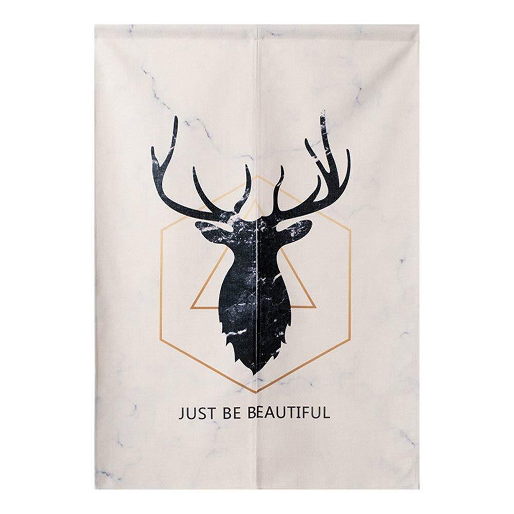 """BAIHT Noren Japanese Doorway Curtain Tapestry Cotton Linen Modern Geometric Wall Decor Door Divider 31.5"""" Width x 35.5"""" Long, Black Deer"""