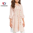 Stripe print with Floral Embroidered Roll-Tab Sleeve Hi-Lo Button Front closure Striped Tunic Point collar neckline prom blouse